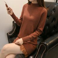 春季中长款毛衣裙半高领套头修身打底衫纯色蕾丝拼接针织连衣裙女