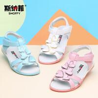 斯纳菲儿童鞋2017夏季新款女童凉鞋真皮露趾