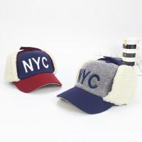 �和�帽子秋冬男童棒球帽�n版女童��舌帽潮小孩加�q�o耳保暖雷�h帽