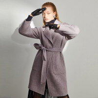 红袖冬装新款粉紫色收腰系带毛呢外套