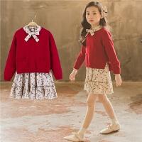 亲子装童装女童春装2018新款韩版女童碎花连衣裙针织毛衣套装