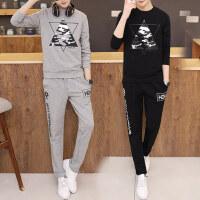 韩版个性潮男大码卫衣长裤两件套 新款青少年休闲户外运动套装长袖圆领卫衣