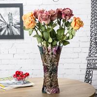 玻璃花瓶摆件透明转运竹水培百合插花干花落地客厅大号富贵竹花瓶