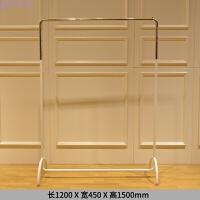 服装店展示架白色铁艺烤漆中岛架锈钢镜面靠墙侧挂 长1.2米宽0.45米高1.5米白色配不