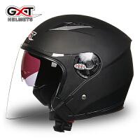 头盔男女士摩托车头盔半覆式双镜片四季防紫外线电动车安全帽