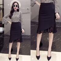 蕾丝半身裙秋冬女中长款高腰弹力一步裙黑色显瘦大码包臀裙职业裙 黑色