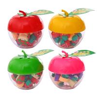 韩国创意圣诞造型小橡皮擦 可爱水果桶装橡皮苹果盒装