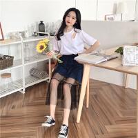 韩版时尚休闲套装夏装女装短袖T恤上衣+牛仔网纱拼接半身裙两件套 均码