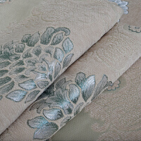 定做定制欧式秋菊绿色/米色沙发巾沙发坐垫布艺龙须花边沙发套