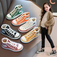 女童鞋帆布鞋男童加�q板鞋�和�秋冬款高�托�子