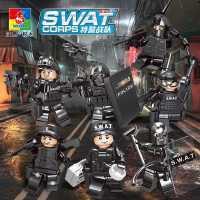 沃马积木兼容乐高玩具男孩军事拼装小人儿童益智拼插城市警察人仔