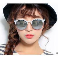 韩版男女款反光太阳眼镜潮 时尚个性半框太阳镜炫彩彩膜 复古半框太阳镜女小框长脸墨镜