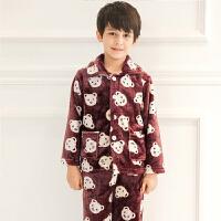 中大童9岁男女童家居服小孩两件套装春秋冬季法兰绒6-8岁儿童睡衣