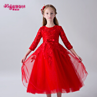 红色公主生日儿童礼服裙 2018新款春季女童礼服童装蓬蓬裙长袖裙子