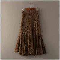 夏季新品宽松中长裙镂空纯色高腰蕾丝半身裙女24535