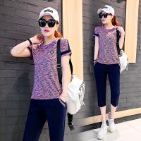 运动套装女夏短袖七分裤两件套休闲套装女韩版圆领套头衫女士运动服修身跑步服夏季薄款
