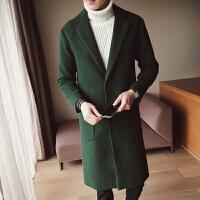冬季新款男士韩版宽松羊毛呢大衣男长款呢子英伦风衣外套青年