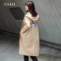Amii[极简主义]纯棉仙鹤刺绣风衣2017秋装新款连帽长袖宽松长外套