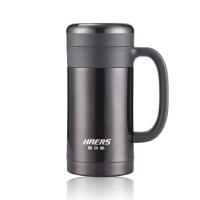 哈尔斯304不锈钢办公杯450ml 保温杯直杯带手柄男女款 HBG-450-13