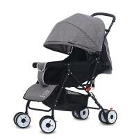 批发婴儿推车折叠儿童手推车多功能伞车可坐可躺轻便宝宝四轮推车 黑骑亚麻