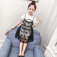 儿童蕾丝连衣裙两件套裙子2018新款夏季女孩短袖韩版