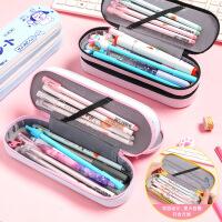 韩版笔盒简约ins大容量帆布双层笔袋初中小学男女生文具盒