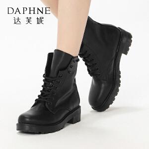 达芙妮集团鞋柜冬女短靴街头时尚马丁靴中跟系带女短靴-1