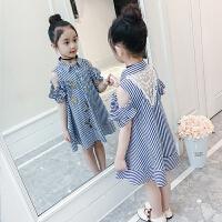 女童连衣裙夏装洋气童装新款韩版儿童条纹露肩公主裙女孩裙子
