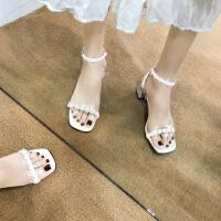 高跟凉鞋女时尚一字带百搭罗马鞋外穿粗跟复古晚晚鞋仙女