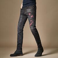 刺绣男士牛仔裤修身2017新款韩版潮流绣花牛仔裤子小脚长裤 黑色
