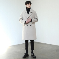 新款秋冬羊绒大衣男中长款双排扣毛呢大衣男宽松韩版呢子风衣外套