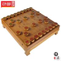 楠竹碳化激光刻线中国象棋墩搭配各类5.0规格象棋子 象棋套装