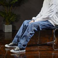 【1折价46.9元】唐狮秋季新款直筒牛仔裤男宽松男士牛仔长裤工装裤韩版潮流