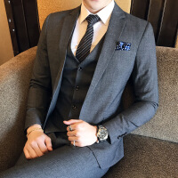 新款秋冬修身韩版男士单排扣西装新郎休闲西服三件套伴郎青少年 深灰色