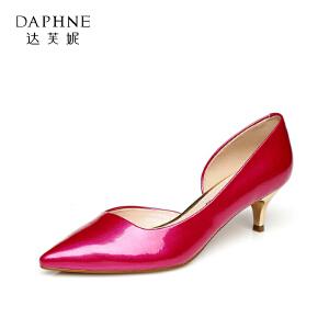 Daphne/达芙妮 春夏款时尚中跟尖头开边简约单鞋1015101059