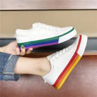 低帮系带韩版休闲运动板鞋平底小白鞋女彩虹帆布鞋女学生
