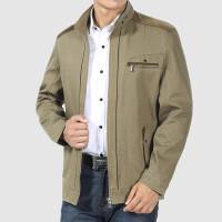 中年男士夹克男爸爸装外套休闲立领中老年男装男士薄款纯棉夹克衫