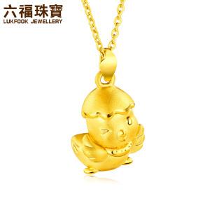 六福珠宝生肖鸡黄金吊坠活力鸡宝宝硬金足金吊坠女定价L01A170049
