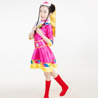 六一新款儿童藏族演出服女孩蒙古族少数民族舞蹈表演服装