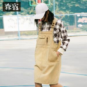 森宿文艺大口袋装饰背带连衣裙冬装新款纯色宽松女裙