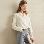 【预估价121元】Amii极简设计感小众雪纺衬衫女2019秋装新款V领蕾丝拼接长袖上衣