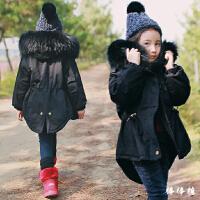 2017韩国童装女童棉衣外套时尚大毛领韩版中长款中大童加厚潮