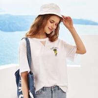 A21新款女装针织宽松圆领短袖T恤女2018夏季学生全棉印花镂空上衣