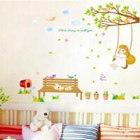 荡秋千女孩墙贴可移除墙贴儿童房温馨卧室背景墙贴画墙壁贴纸