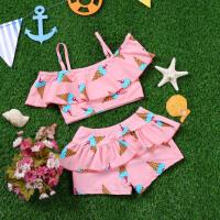 �和�游泳衣少女孩子中大童�n版�W生分�w裙式平角�6-12�q女童泳�b