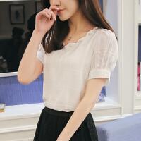雪纺衫短袖女短款夏季韩版百搭宽松显瘦小衫气质淑女配裙子的上衣 白色