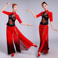 2018中国风打鼓服演出服女腰鼓服伞舞秧歌服古典舞蹈服装春夏 红色