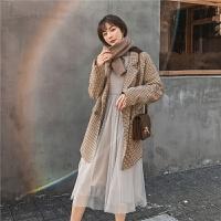 七格格连衣裙长袖长款过膝2019新款冬季韩版套头圆领松紧腰裙子潮