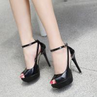 夏韩版新款一字扣细跟凉鞋女夜店12cm防水台超高跟性感鱼嘴鞋