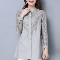 一件衬衫女蕾丝中长款纯棉2017春装立领大码衬衣精品